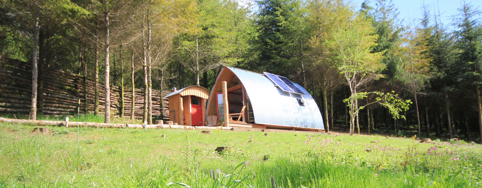 Interior image of our off-grid timber cabin in Devon