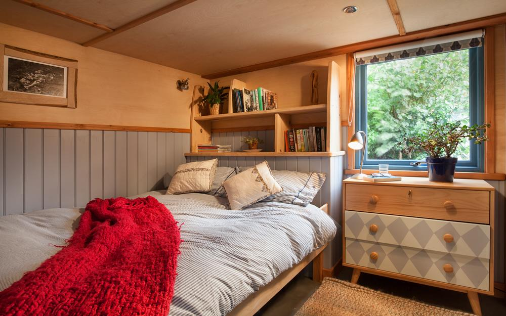 Interior of our timber cabin showing the spacious interior